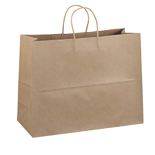 "Flexicore Packaging 16""x6""x12"" - 100 Pcs - Bagsource Brown Kraft Paper Bags, Shopping, Mechandise, Party, Gift Bags"
