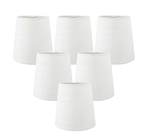 Meriville Set of 6 Off White Linen Clip On Chandelier Lamp S