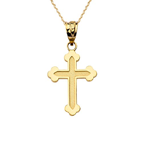 Dainty Greek Orthodox Cross Pendant Necklace in Solid 14k Yellow Gold, 16