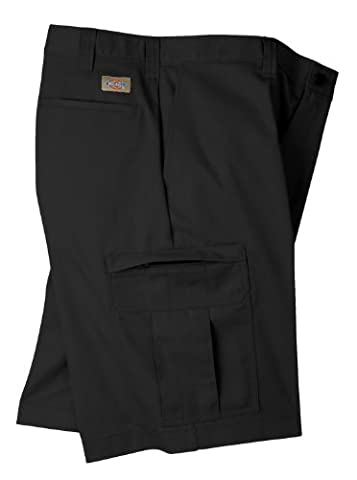 Dickies Occupational Workwear LR542BK 32 Polyester/ Cotton Relaxed Fit Men's Premium Industrial Cargo Short with Hidden Snap Closure, 32