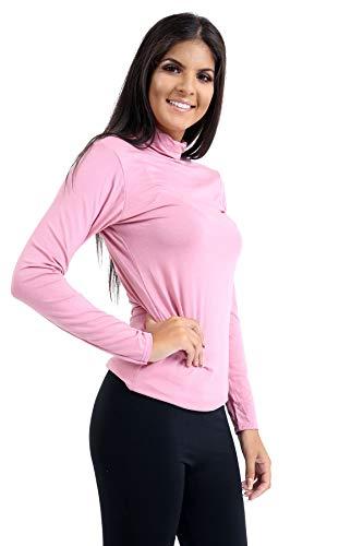 Tee Pink shirt manica Roll elasticizzata T Janisramone Top Pink Turtle Plain Donna Polo Donna lunga Neck cRqF7