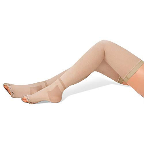 GILLYA T.e.d. Anti Embolism Stockings Thigh High, White TED Stockings for Women Men, 15-20 mmHg Compression TED Hose with Inspect Toe Hole (Beige,XX-Large)