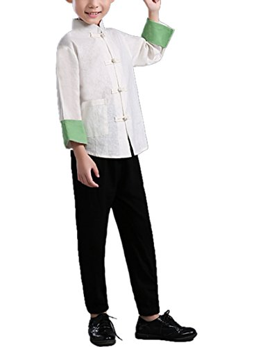 Ethnic Chinese Costume (Lemail wig Boys Traditional Chinese Ethnic Clothes Tang Suit Outfit Men Costume)