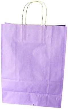 Papiertragetaschen mit weißer Kordel Farbe: Lavendel 26 + 12 x 35 cm (50 Stück)