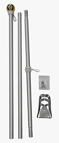 6 Foot Aluminum Silver Pole with (Ball) - Flagpole Bracket Wall Mount