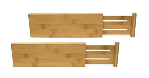 Lipper International 8895 Bamboo Wood Custom Fit Adjustable Dresser Drawer Dividers, Set of 2 (Lipper Bamboo)