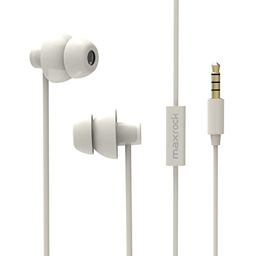 MAXROCK (TM) Unique Total Soft Silicon Sleeping Headphones Earplugs Earbuds with Mic for Cellphones,Tablets and 3.5 mm Jack Plug (White)