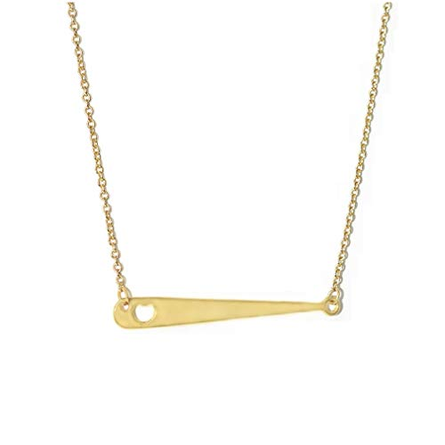 Personalized Gold Color Baseball Pendant Necklace Hollow Heart Baseball Bat Bar Chain Necklace For Women Men Jewelry (Gold)