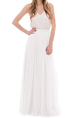 (Omelas Womens Long Floor Length Tulle Skirt High Waisted Maxi Tutu Party Dress (Ivory, M))