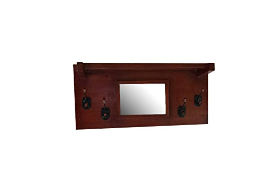 Urnporium Solid Mahogany Wood Wall Mounted Mirror Coat Rack, 4 mAh
