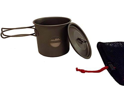 Great Cove Lightweight Titanium 600ml Cooking Pot with Lid and Mesh Bag for Camping and Backpacking