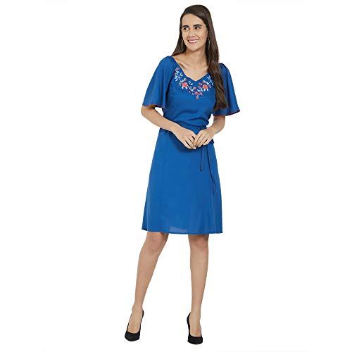 Fusion Beats Women Viscose Indigo Plain Dress with Half Sleeves