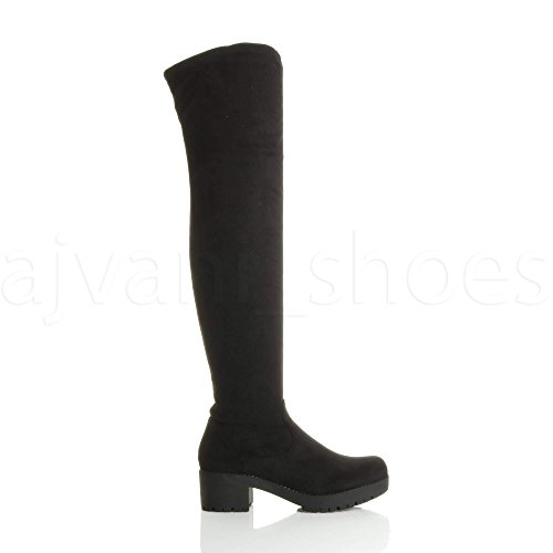 Boots Black mid Block Ajvani Riding Knee Ladies Zip Over Stretch Size Low Womens Heel Suede Chunky wqC761
