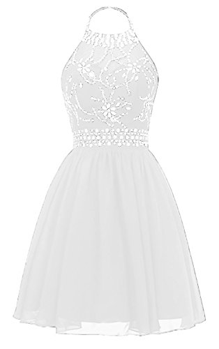 ae8d372a2d7 HEAR Women s Halter Crystals Prom Gown Short Backless Chiffon Cocktail  Dresses Hear185