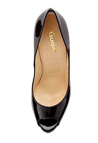 Guoar - Zapatos con tacón Mujer A-Schwarz