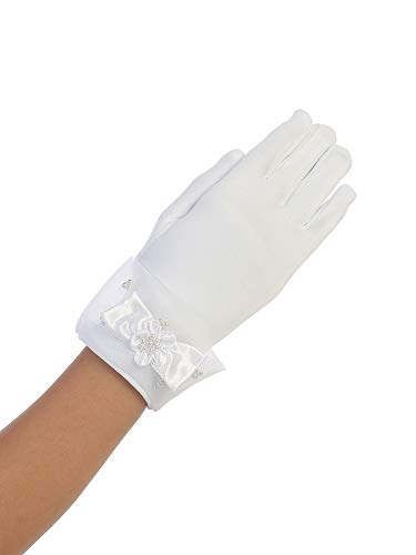 Big Girls White Wrist Length Satin Organza Cuff Special Occasion Gloves 8-14