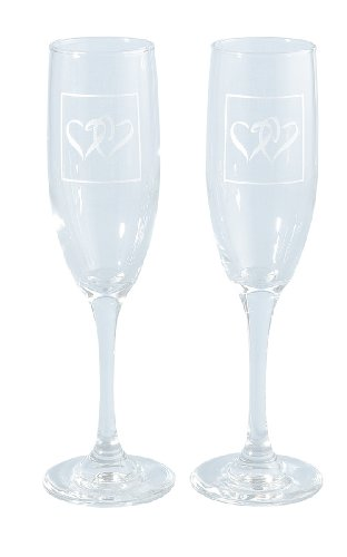 Hortense B. Hewitt Wedding Accessories, Fluted Champagne Toasting Glasses, Silver Linked at the Heart Design, Set of 2