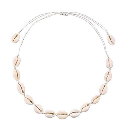Natural Cowrie Shell Necklace Handmade Adjustable Summer Boho Hawaii Beach Seashell Choker for Women Girls Kids