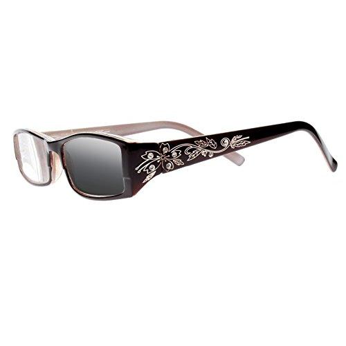 Women Diamonds Flowers Transition Photochromic Reading Glasses UV400 Sunglasses (Brown, 2.0) (Brown Glasses Reading Rhinestone)