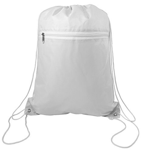 Zippered Drawstring Bag Cinch Sack Promotional Backpack Gym Travel Hike 12 Pack (White)