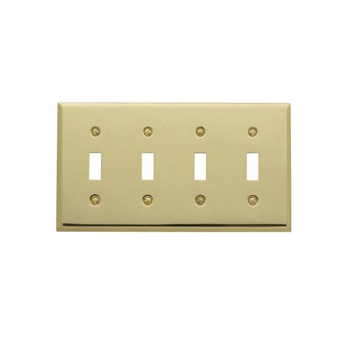[Baldwin 4772.030.CD Classic Square Beveled Edge Quad Toggle Switch Plate, Polished Brass - Lacquered] (Quad Light Switch Cover)