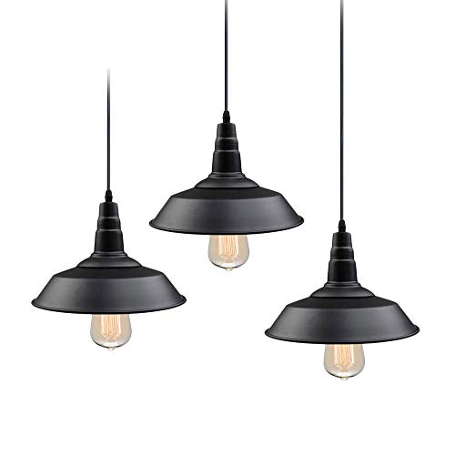 LNC Pendant Lighting for Kitchen Island 3-Pack Hanging Fixtures with Matte Black Finish for Dining Room, Bar Counter, Restaurant, A0190709,