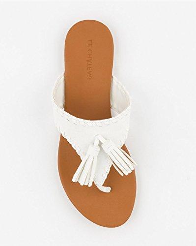 TEAU Sandal Tassel Women's White CH Thong LE P7UA5x7wq