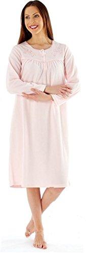 Las señoras bordaron Soft Fleece manga larga Camisón MED23 rosa o aguamarina Pink
