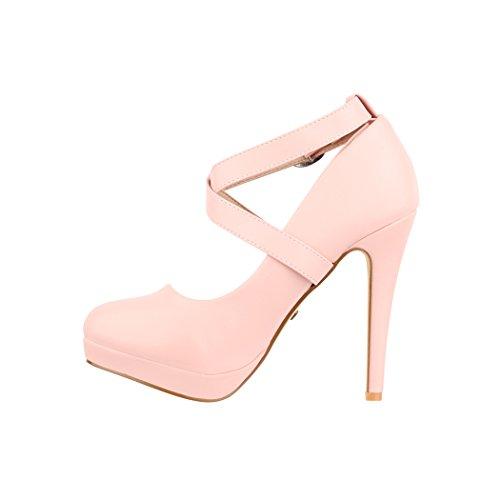 Elara Damen Pumps   Bequeme Riemchen High Heels   Vintage-Style   Abendschuh Trendy   Chunkyrayan Rosa
