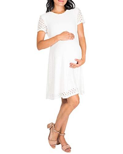 NOM Womens Georgia Eyelet A-Line Maternity Dress, L