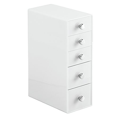 InterDesign Desk Storage Organizer Tower with 5 Drawers for Pens, Pencils, Markers, Stamps. Erasers, Paper clips, White ()