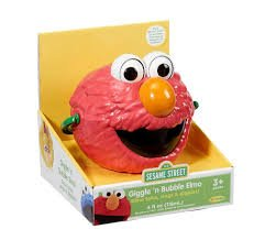 Little Kids Sesame StreetGiggle and Speak Elmo No-Spill Motorized Bubble Machine with 4 oz bubble solution Toy, Red Giggle Elmo