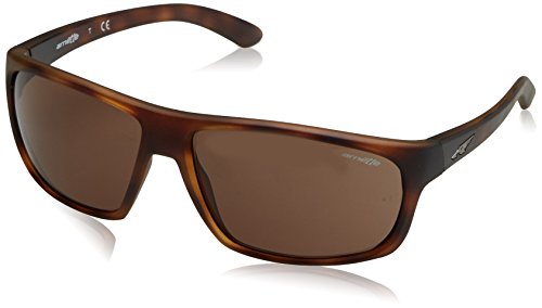 Arnette Men's Burnout Rectangular Sunglasses, Matte Dark Havana, 64 - Arnette Brown Sunglasses