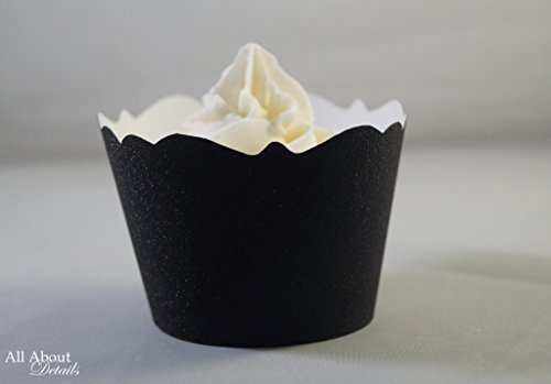 All About Details Black Glitter Cupcake Wrappers, Set of 12