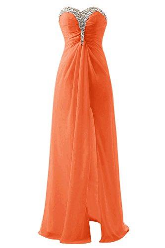 Bbonlinedress Vestido De Fiesta Boda Largo De Gasa Escote Corazón Apertura Frontal Naranja