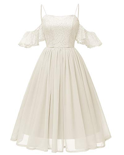 Women's Lace Midi Homecoming Dress Ruffled Off The Shoulder Straps Chiffon Gown Ivory ()