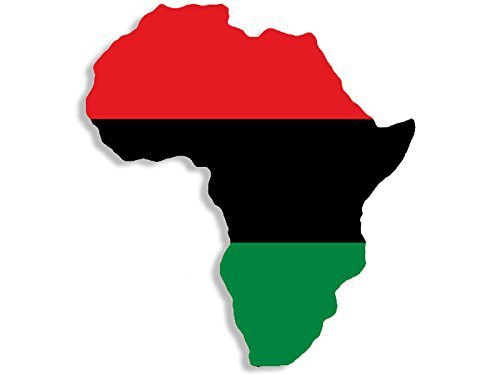 (Pan African Flag in The Shape of Africa Sticker (Black History Pride Love))