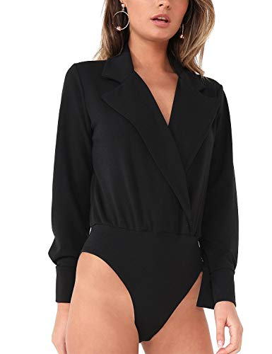 GRAPENT Womens Black Collar V Neck Faux Wrap Long Buttoned Sleeves Bodysuits Shirts by GRAPENT