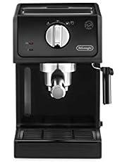 De'Longhi ECP 31.21 Espresso-zeefhouder, zeefhouder met aluminium afwerking, melkschuimmondstuk, filterinzetstuk voor 1 of 2 kopjes, espresso, ook geschikt voor pads, zwart