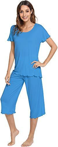 WiWi Pajama Set for Women Short Sleeve Top & Capri Pants Sleepwear Comfy Loungewear S-XXXXL(4XL), Bright Blue, Large ()