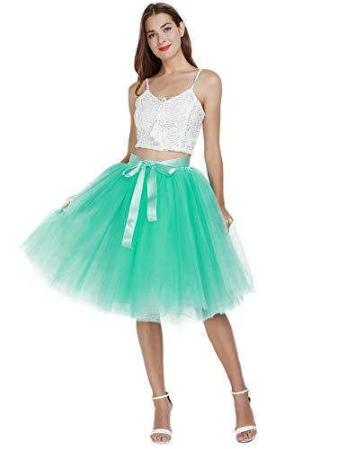 (Women's High Waist Pleated Princess A Line Midi/Knee Length Tutu Tulle Skirt for Prom Party (Plus Size, Mint Green))