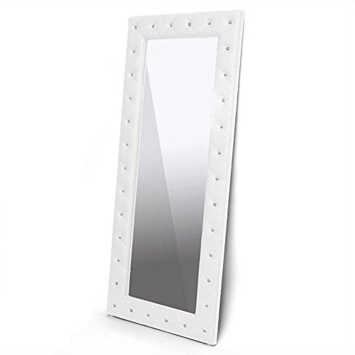 Baxton Studio Stella Crystal Tufted Modern Floor Mirror, White ()