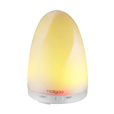 Holigoo Essential Oil Diffuser, 100ml Ultrasonic Cool Mist Humidifier Portable Aromatherapy Diffuser, 7 Color Changing LED Lights and Waterless Auto Shut-Off for Home Office Bedroom
