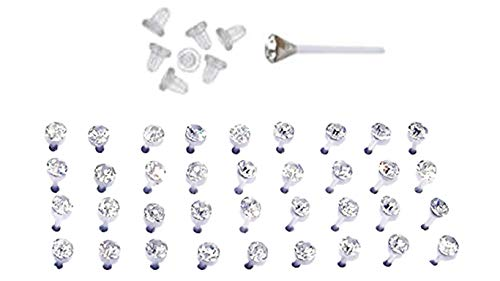 Set of Nylon Posts Plastic Posts Crystal Stud Hypoallergenic Earrings (18 Pairs Clear Crystals)