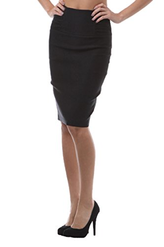 TrendzArt Business Casual Front Shirring High Waist Pencil Skirt (BK,3XL)
