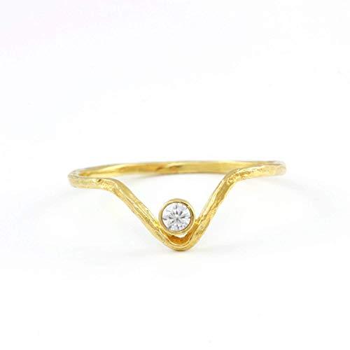 bf6d8af94 Diamond ring for women V ring 14K gold chevron bezel black or white diamond  minimalist dainty simple wedding band bridal geometric stacking brilliant  cut ...