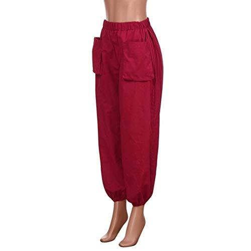 Plus Pierna Tamaño Algodón Étnico Ancha De Pantalones Verano Harem Gran Elástica Bastante Winered Mujeres Cintura Sueltos Suelta Vintage Ax7qfzBa