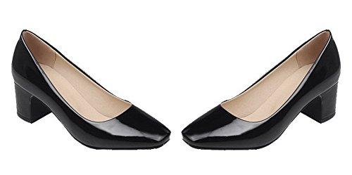 Correct Carré Légeres Noir Femme Chaussures Talon À Couleur Unie Aalardom Tire wqXaTRw