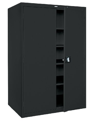 Sandusky Lee KDE7848-09 Black Steel SnapIt Storage Cabinet, 4 Adjustable Shelves, Keyless Electronic Coded Lock, Powder Coat Finish, 78
