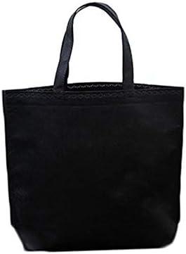 SXCYU Bolso de Compras de Tela de algodón de Lona Grande Multifuncional Reutilizable Bolso de Almacenamiento de Caja de protección Ambiental no Tejido portátil de un Solo Hombro para Mujer, Negro, L: